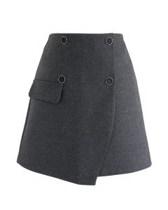Button Trim Flap Mini Skirt in Smoke