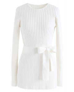 Neat Open-Back Ribbed Knit Sweater in White