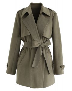 Open Front Belted Trench Coat in Moss Green