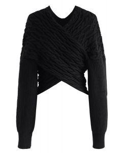 Crisscross Braid Texture Knit Crop Sweater in Black