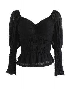 Lace Shirred Square Neck Crop Top in Black