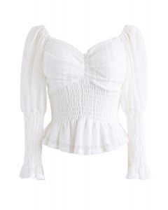 Lace Shirred Square Neck Crop Top in White