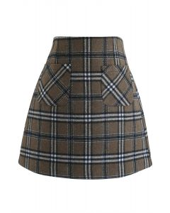 Plaid Pattern Front Pocket Wool-Blend Bud Skirt