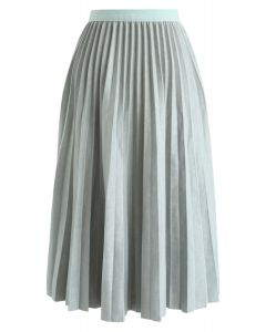 Faux Suede Pleated Midi Skirt in Mint