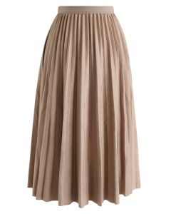 Faux Suede Pleated Midi Skirt in Tan