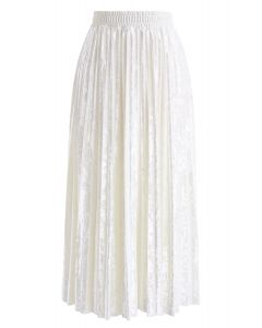Shiny Velvet Pleated Midi Skirt in Pearl White