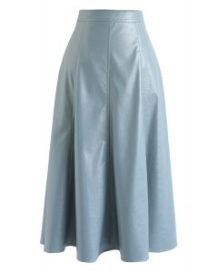 Faux Leather A-Line Midi Skirt in Dusty Blue