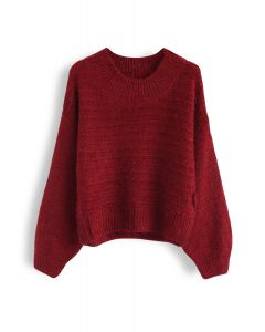 Round Neck Fuzzy Knit Sweater in Red