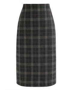 Slit Hem Plaid Shift Pencil Skirt in Smoke