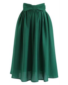 Bowknot Waist Pleated Midi Skirt in Emerald