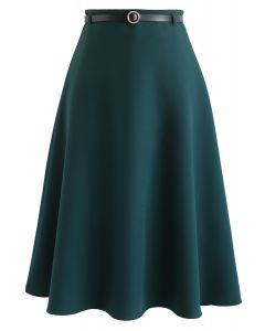 Belted A-Line Midi Skirt in Green