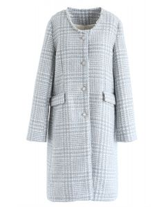 Houndstooth Collarless Wool-Blend Coat in Blue