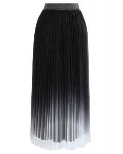 Gradient Shiny Mesh Pleated Skirt in Black