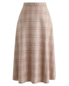 Plaid Faux Suede A-Line Midi Skirt in Tan