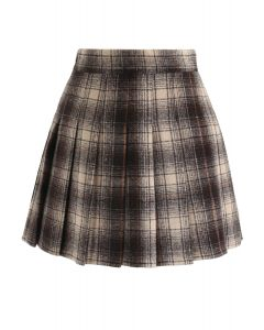 Plaid Pleated Wool-Blend Mini Skorts in Smoke