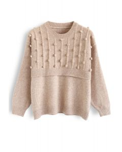 Round Neck Pom-Pom Trimmed Knit Sweater in Tan