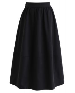 Simple A-Line Midi Skirt in Black