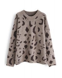 Inky Pattern Loose Knit Sweater in Brown
