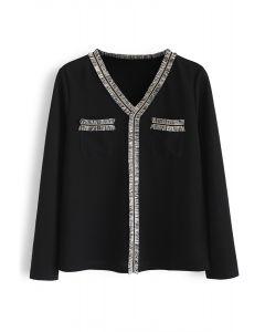 V-Neck Tassel Trim Pockets Knit Top in Black
