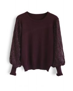 Shiny Lines Puff Sleeves Knit Top in Wine