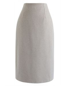 Split Hem Pencil Midi Skirt in Taupe