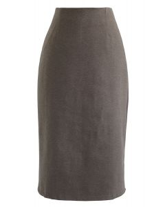 Split Hem Pencil Midi Skirt in Brown