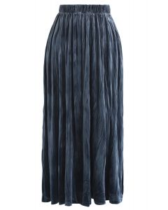 Velvet Pleated Midi Skirt in Dusty Blue