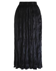 Velvet Pleated Midi Skirt in Black