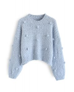 Pom-Pom Decorated Fuzzy Knit Crop Sweater in Blue