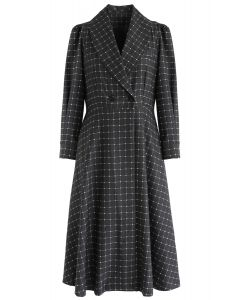Grid V-Neck Midi Coat Dress in Smoke