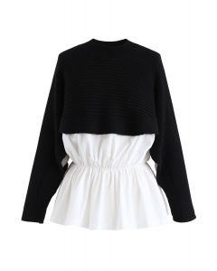 Spliced Peplum Ribbed Knit Top in Black