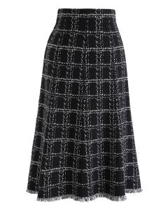 Check Tassel Hem Knit Midi Skirt in Black