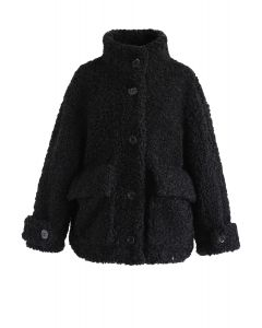 Buttoned Pocket Teddy Coat in Black