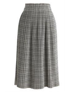 Plaid Pattern Pleated Midi Skirt