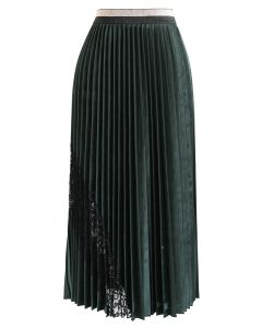 Lacy Embellished Velvet Pleated Skirt in Emerald