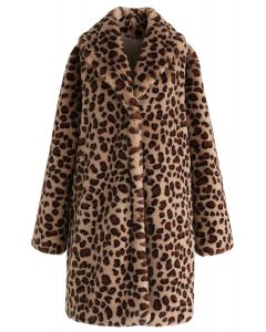 Brown Leopard Faux Fur Longline Coat with Collar