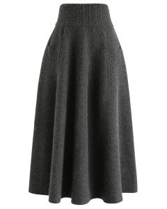 Cable Pockets Knit Midi Skirt in Smoke