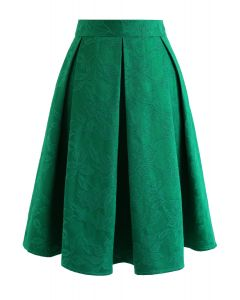 Green Flowery Jacquard Pleated Midi Skirt