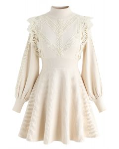 Lace Trims Ribbed Skater Knit Dress in Cream