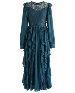 Flowy and Lacy Ruffle Maxi Dress in Turquoise