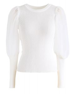 Mesh Bubble-Sleeve Ribbed Knit Top in White