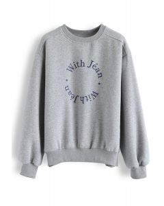 Letters Loose Fit Sweatshirt in Grey