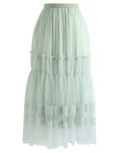 Double-Layered Tulle Midi Skirt in Mint