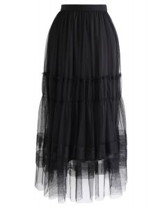 Double-Layered Tulle Midi Skirt in Black