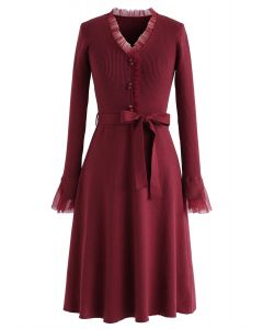Mesh Inlaid Buttoned Bowknot Knit Dress in Red