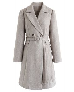 Herringbone Belted Pleated Coat Dress in Sand