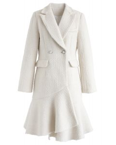 Asymmetric Frill Hem Tweed Coat Dress in White