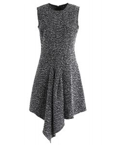 Tweed Asymmetric Sleeveless Dress in Black