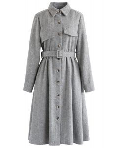 Herringbone Button Down Belted Coat Dress in Grey