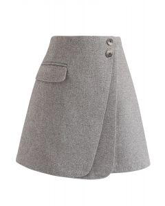 Double Flap Wool-Blend Mini Skirt in Grey